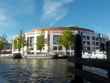 The Stopera building located beside the Amsterdam Canals