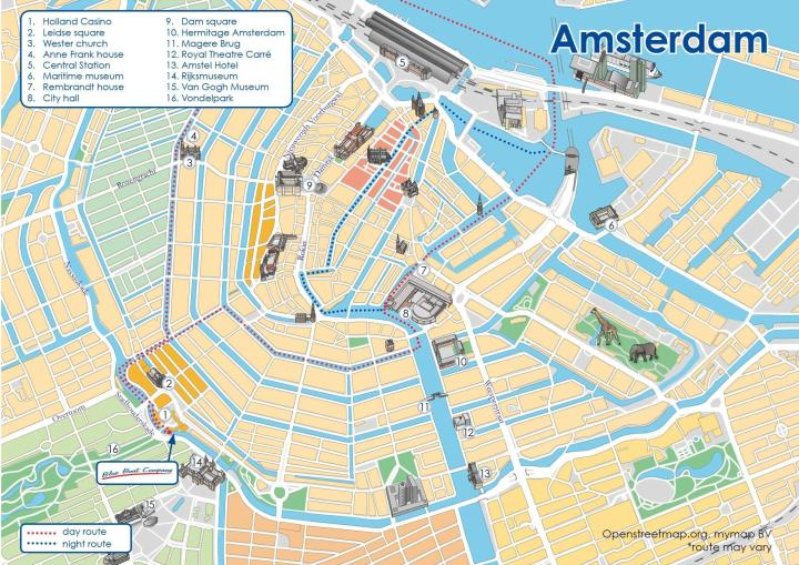 Tourist sites in Amsterdam Canals