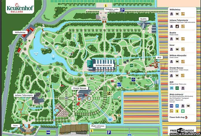 A map of Kuekenhof Gardens