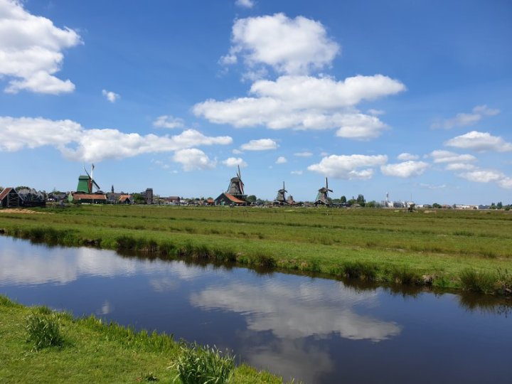 One of the canals in front of the windmills of Zaanse Schans