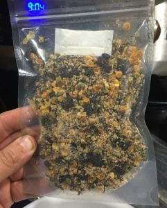 Dehydrated quinoa, black beans, and corn mixed with a Mexican flavor packet.
