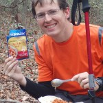 sample backpacking meal plan: Data enjoys some tuna on tortillas with olive oil.