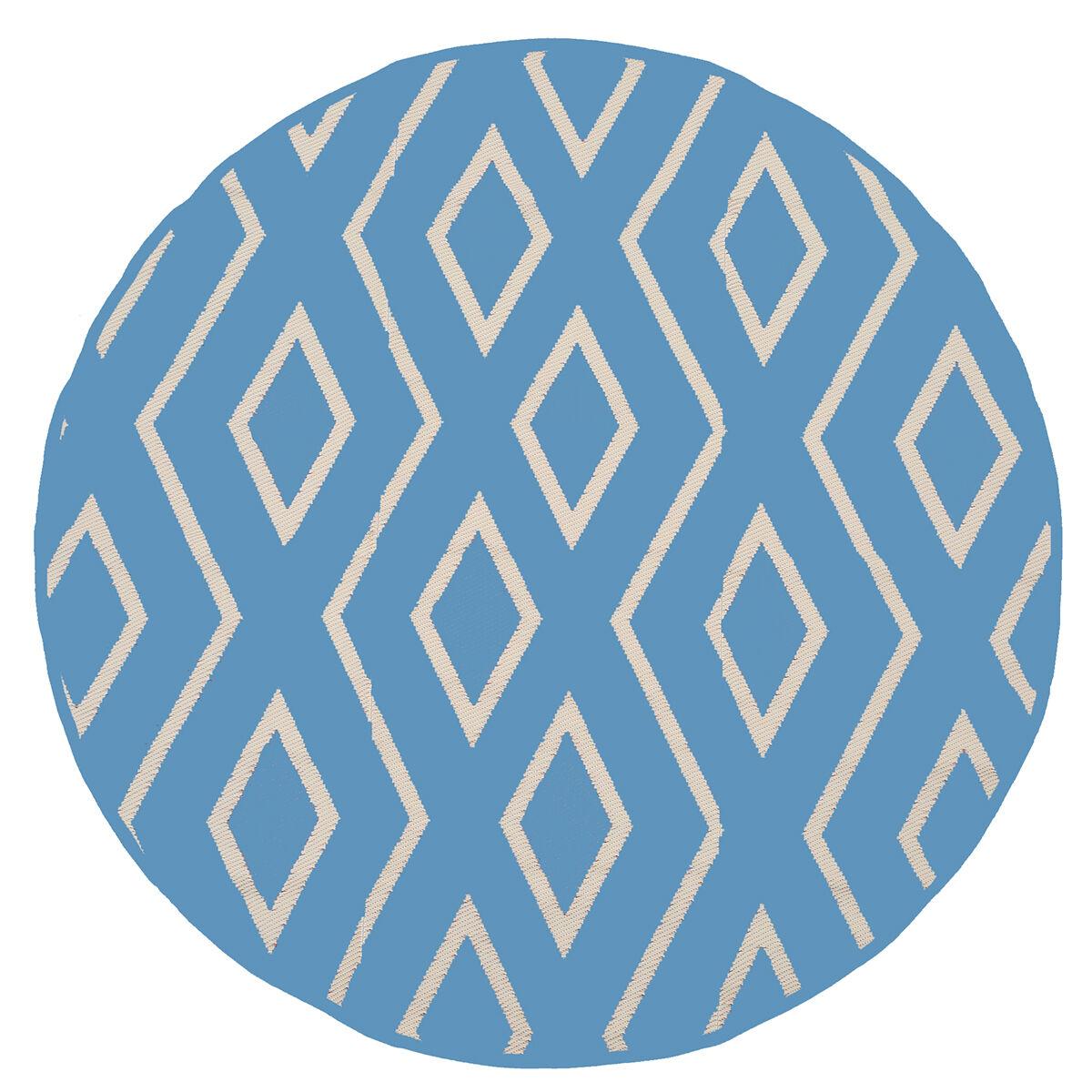 reversible 7 round tribal design patio mat blue light blue