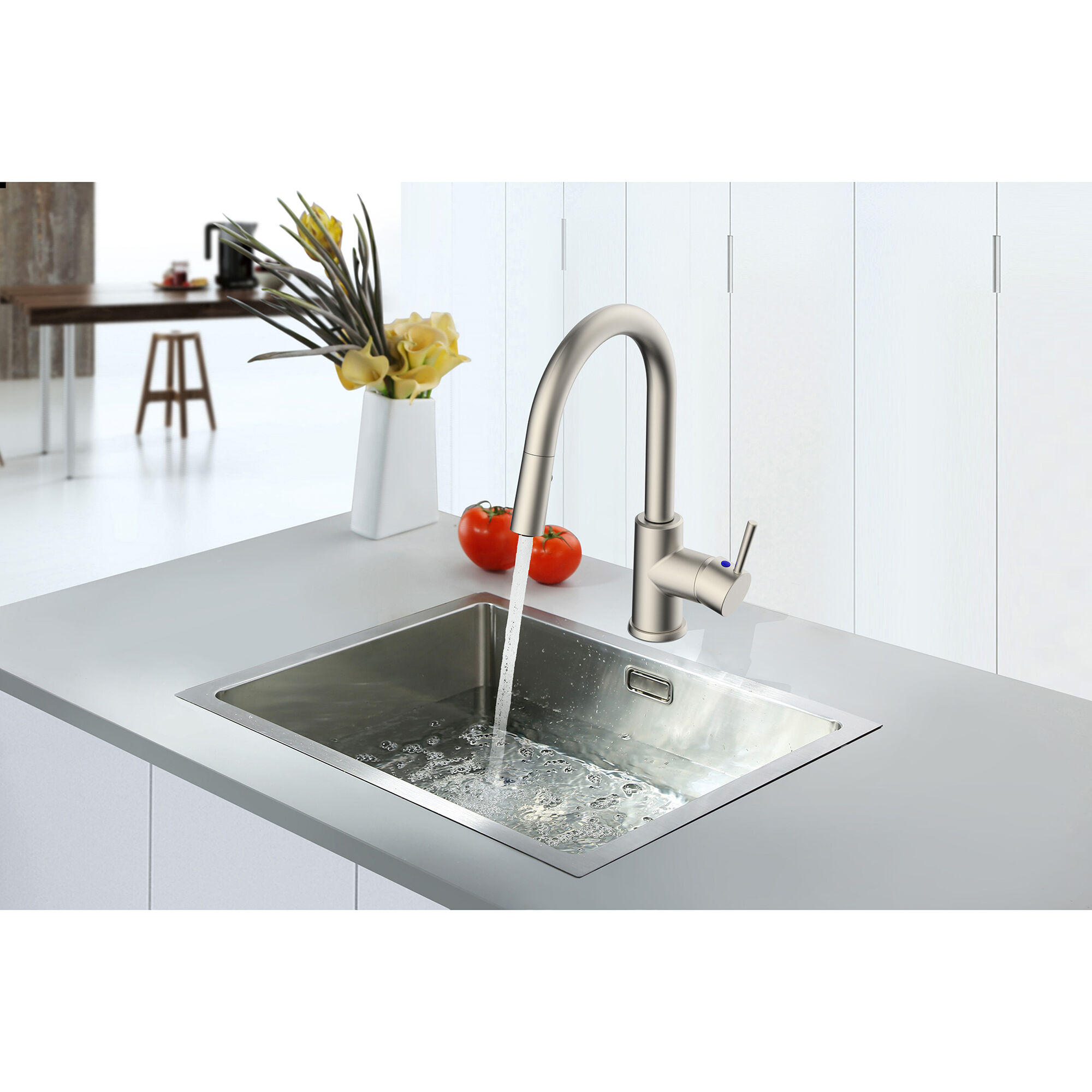 empire rv metal single lever kitchen faucet with pull down sprayer