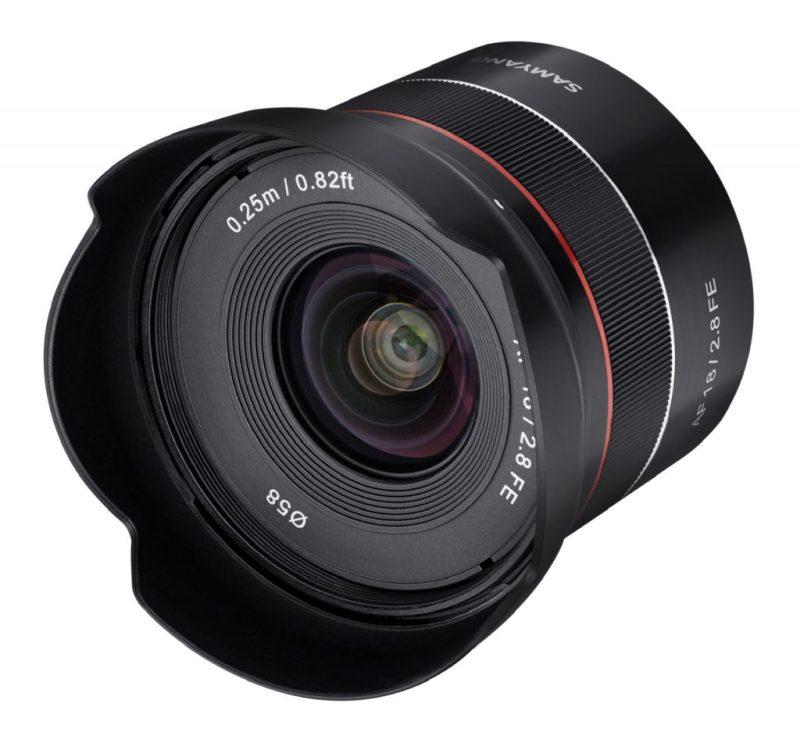 Samyang AF 18mm F2.8 FE Lens front angle scaled