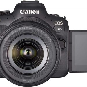 Canon R6 + 24-105 Lens front view iwth LCD flip screen out
