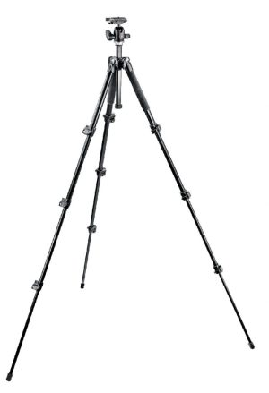 Manfrotto 293 Aluminum Kit, Tripod 4 sections with Ball Head QR