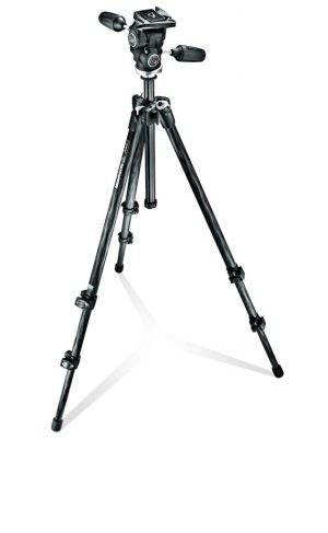 Manfrotto 294 Carbon Fiber Kit, Tripod 3 sections with 3 Way Head QR
