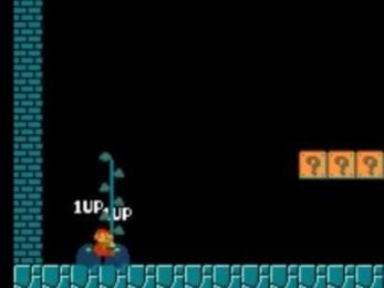 Truque no Super Mario Bros: planta continua crescendo do chão e possibilita o truque