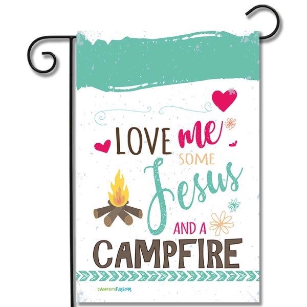 RV Camping Flag Love Me Some Jesus And A Campfire