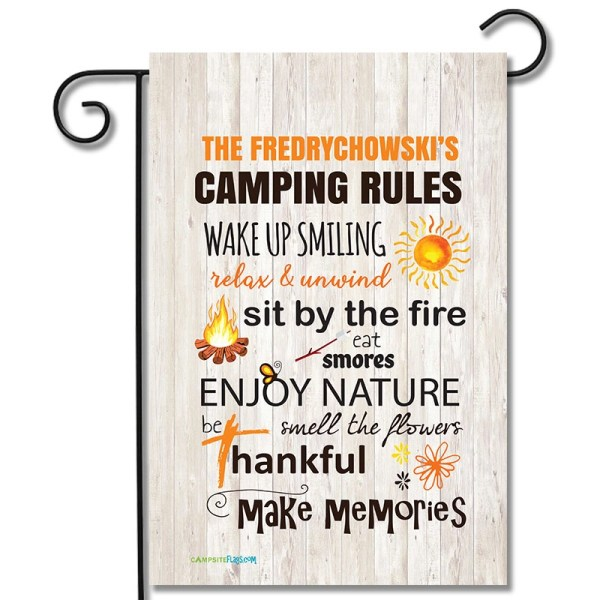 Personalized Campsite Flag Camping Rules