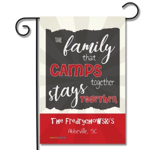 Personalized RV Camping Flag The Family That Camps Together Stays Together
