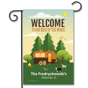 Personalized RV Pet Flag Welcome To Our Neck Of The Woods Travel Trailer