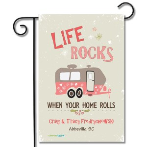 Personalized RV Camping Yard Flag Life Rocks When Your Home Rolls Travel Trailer