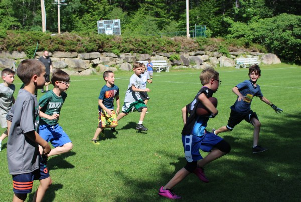 Football at Camp Takajo in Naples, Maine, USA
