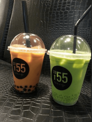 left: Thai Iced Milk Tea with Pearls ($4.90), right: Thai Iced Green Milk Tea with Sago ($4.90)