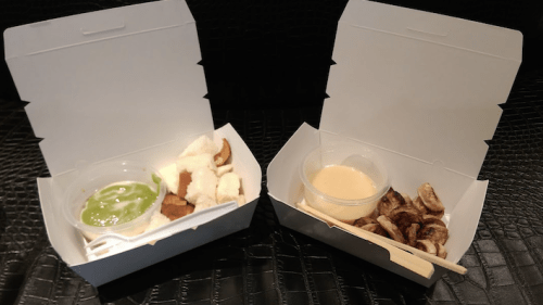 left: Thai kaya with steamed white bun, right: Grilled bananas