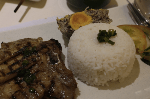 Grilled Pork Chop Rice with Salted Egg Pudding -- $12.90