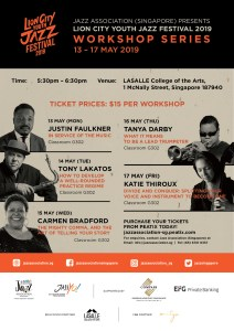 Lion City Youth Jazz Festival 2019 Workshop Series @ LASALLE College of the Arts, Classroom G302