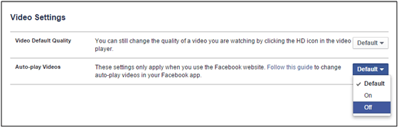 Stop Autoplay Video on Facbook Settings