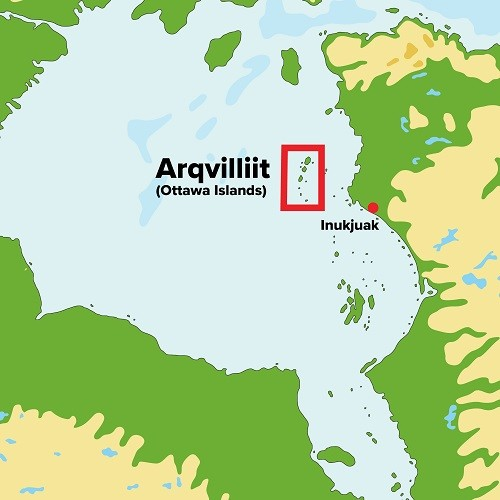Arqvilliit, also called Ottawa Islands, is a chain of 24 islands, located in the northeastern part of Hudson Bay.