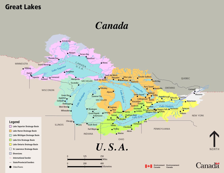 Great Lakes Drainage Basin Map