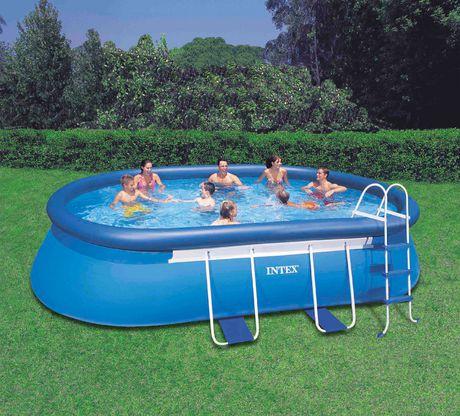 Intex 18 ftx10ftx42in Oval Frame Pool Set家庭游泳池_加拿大打折網