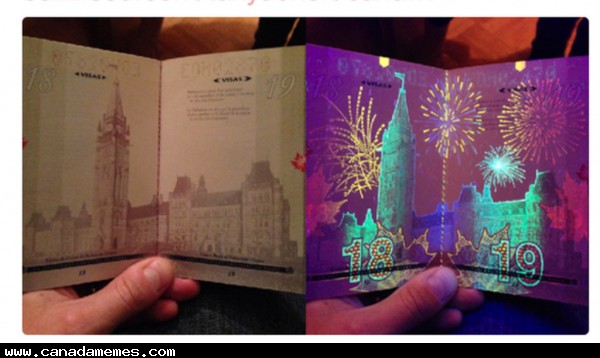 Have you seen the new canadian passports under a black light?
