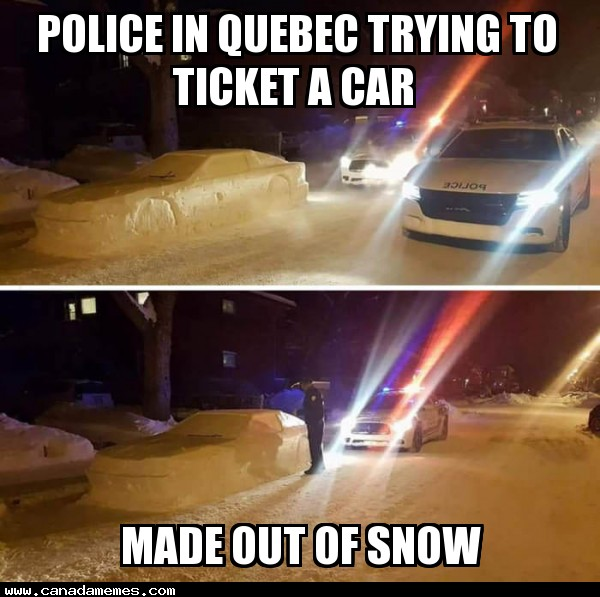 Police in Quebec trying to ticket a car made out of snow