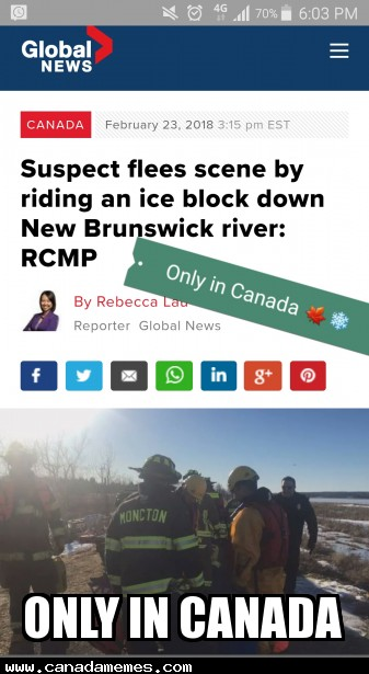 Suspect flees scene by riding an ice block down New Brunswick river