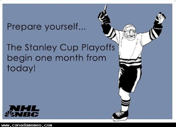 Get ready...The stanley Cup Playoffs are a month away!