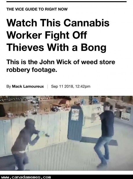 🇨🇦 Man working in dispensary fights off robbers with a bong