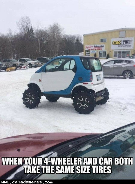🇨🇦 When your ATV has the same bolt pattern as your car