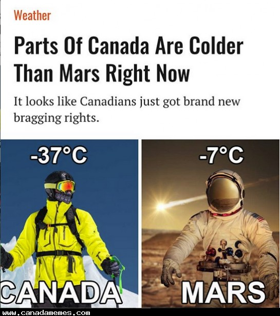 Parts of Canada is colder than Mars right now!
