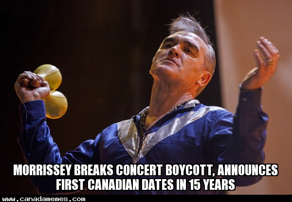 🇨🇦 Morrissey breaks concert boycott, announces first Canadian dates in 15 years