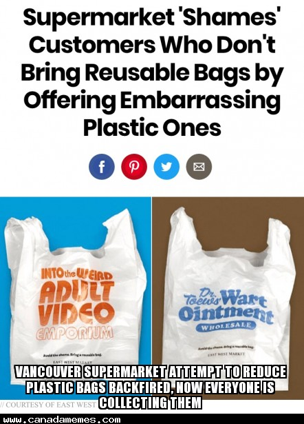 🇨🇦 Vancouver supermarket attempt to reduce plastic bags backfired, now everyone is collecting them