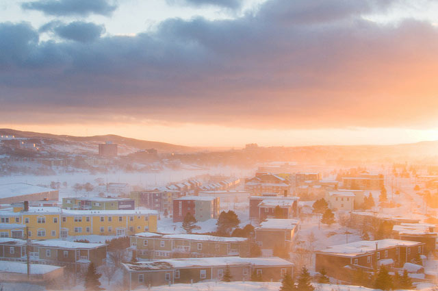 view of Newfoundland city during winter