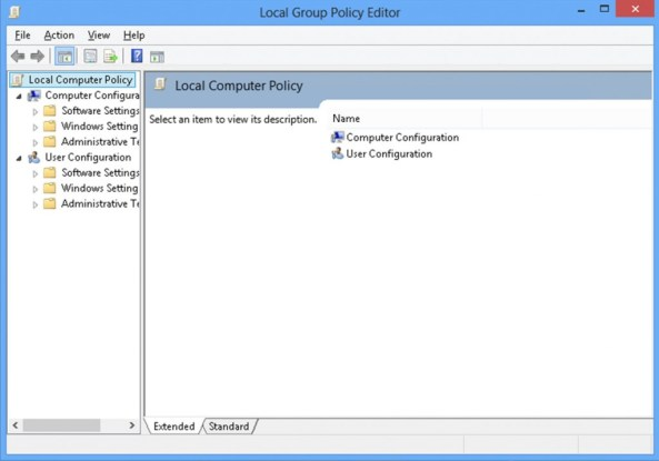 The Local Group Policy Editor