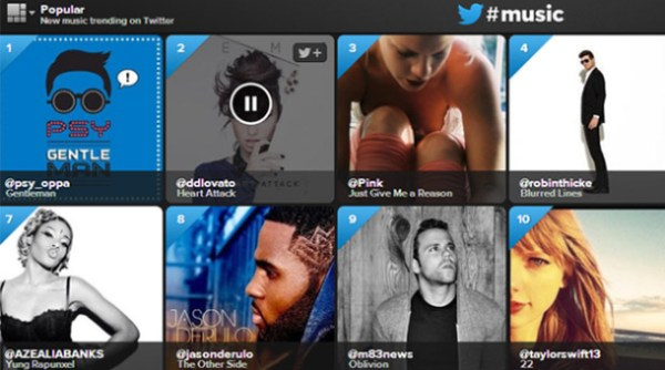 A screenshot of Twitter's music discovery service.