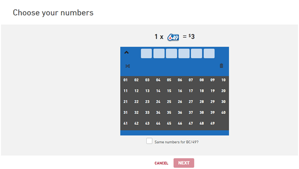 Lotto 649- Choose your own numbers