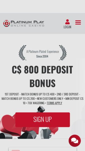 Platinum Play Casino Canada bonus
