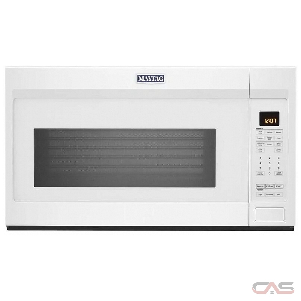 maytag ymmv4207jw over the range microwave 1 9 cu ft capacity 400 cfm 950w watts stainless steel interior incandescent 30 inch exterior width