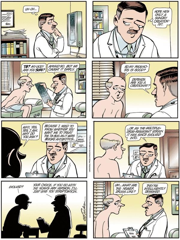 Doonsbury Cartoon asks Creationist What TB Treatment He Prefers