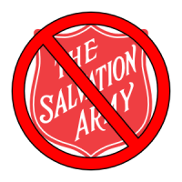 The logo of the Salvation Army, superimposed with a no (or prohibition) symbol.