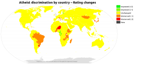 Colourized map showing the change in rating for each country between the 2013 and 2014 Freedom of Thought reports.