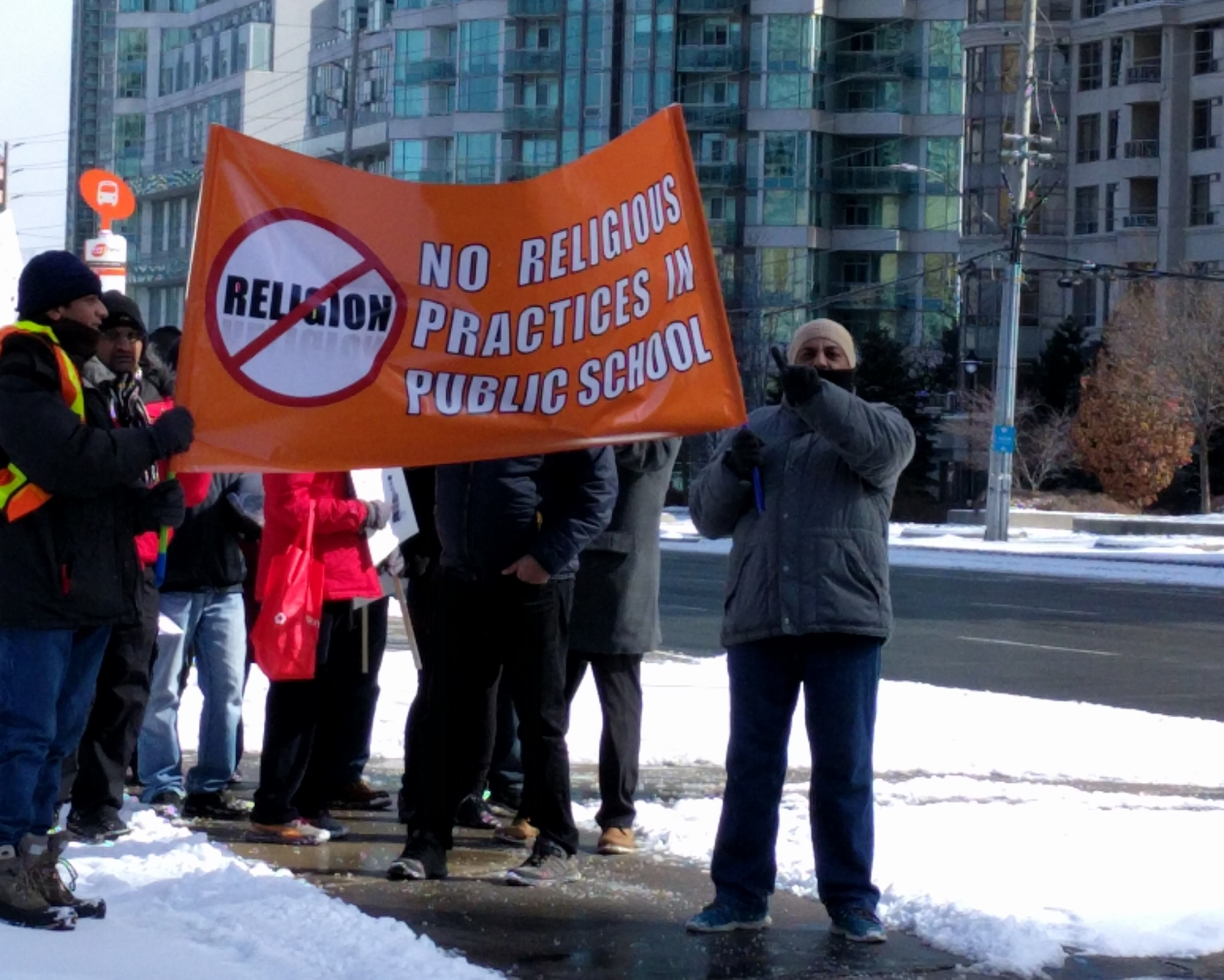Protesters at Mississauga City Hall, March 11, 2017