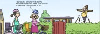 """[A comic illustrating two women in a suburban scene. One says to the other: """"I donated a bible for kids to the day care centre last week. I'm excited to see what they got out of it!"""" In the background, partially obscured by a hedge, another woman is being crucified, and prodded with spears held up by people too short to be seen over the hedge – presumably kids.]"""