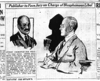 "[Scan of a 1926 newspaper article describing the Eugene Sterry blasphemy case. There are drawings of Sterry and his lawyer, Elliot Cross. The visible text reads: ""Sterry committed for trial. The larger picture, above, shows Ernest Victor Sterry, publisher of the Christian Inquirer, as he appeared in the police court to-day, when he was committed for trial on a charge of blasphemous libel, arising out of statements contained in his paper. In the smaller picture at the left, is shwon E. Lionel Cross, negro barrister, who defended Sterry. In addition to the blasphemy charge, Sterry is accused of stealing $200 from a Chinese laundryman. This allegation will probably be heard in police court next week.]"