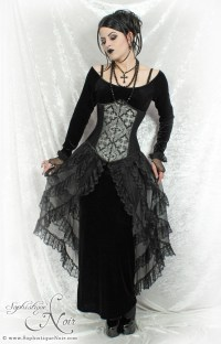 "[Photo of a woman in ""goth"" fashion, wearing a crucifix.]"