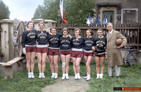 Edmonton Grads 1936 - Colourized Photograph